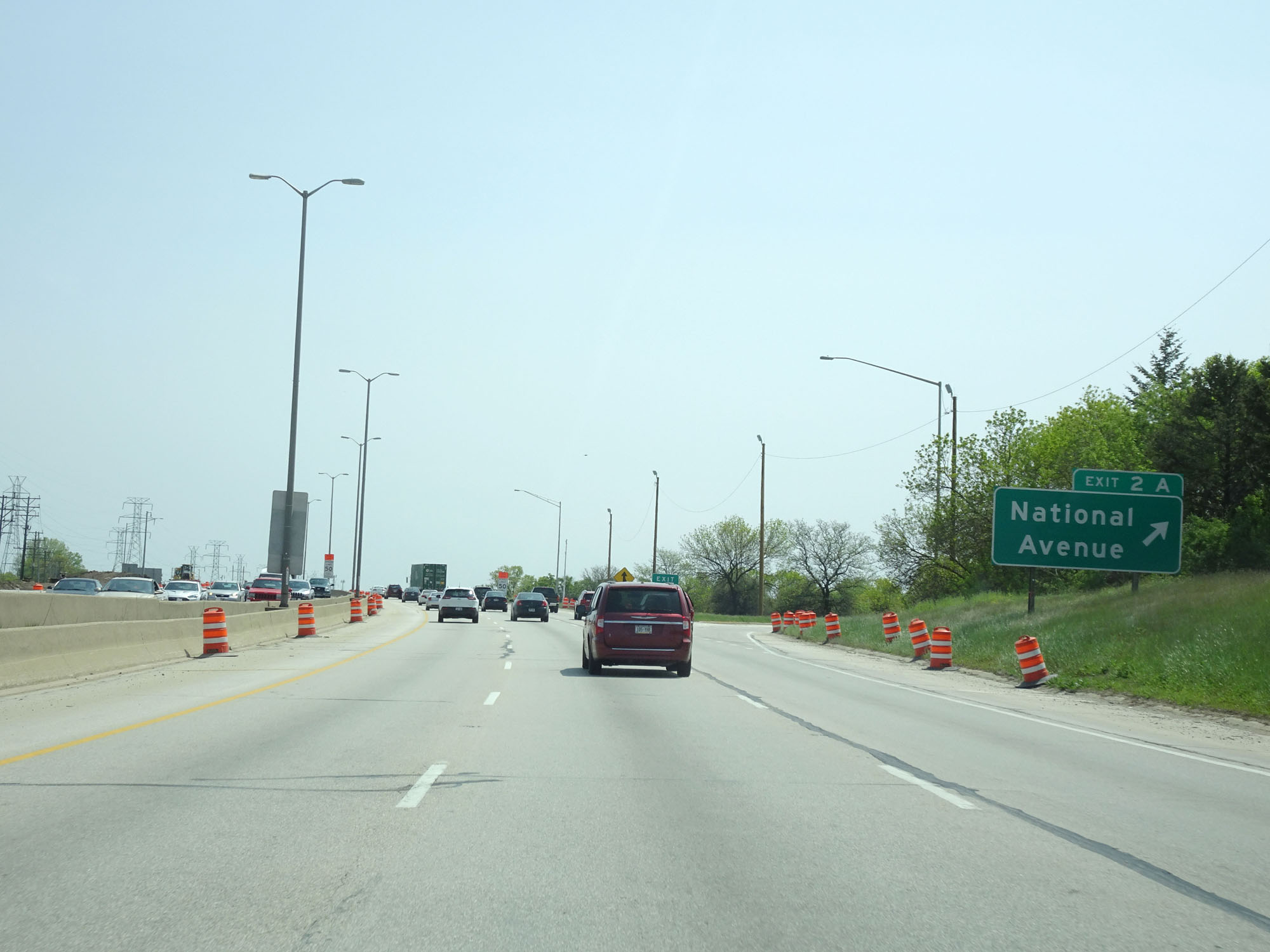 Interstate 894 East / Interstate 41 South at Exit 2A: National Avenue  (Photo taken 5/21/16).