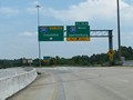 Interstate 185 South at Exit 14A: Interstate 85 North - Spartanburg. Beyond this interchange, I-185 South becomes a toll road. (Photo taken 5/27/17).
